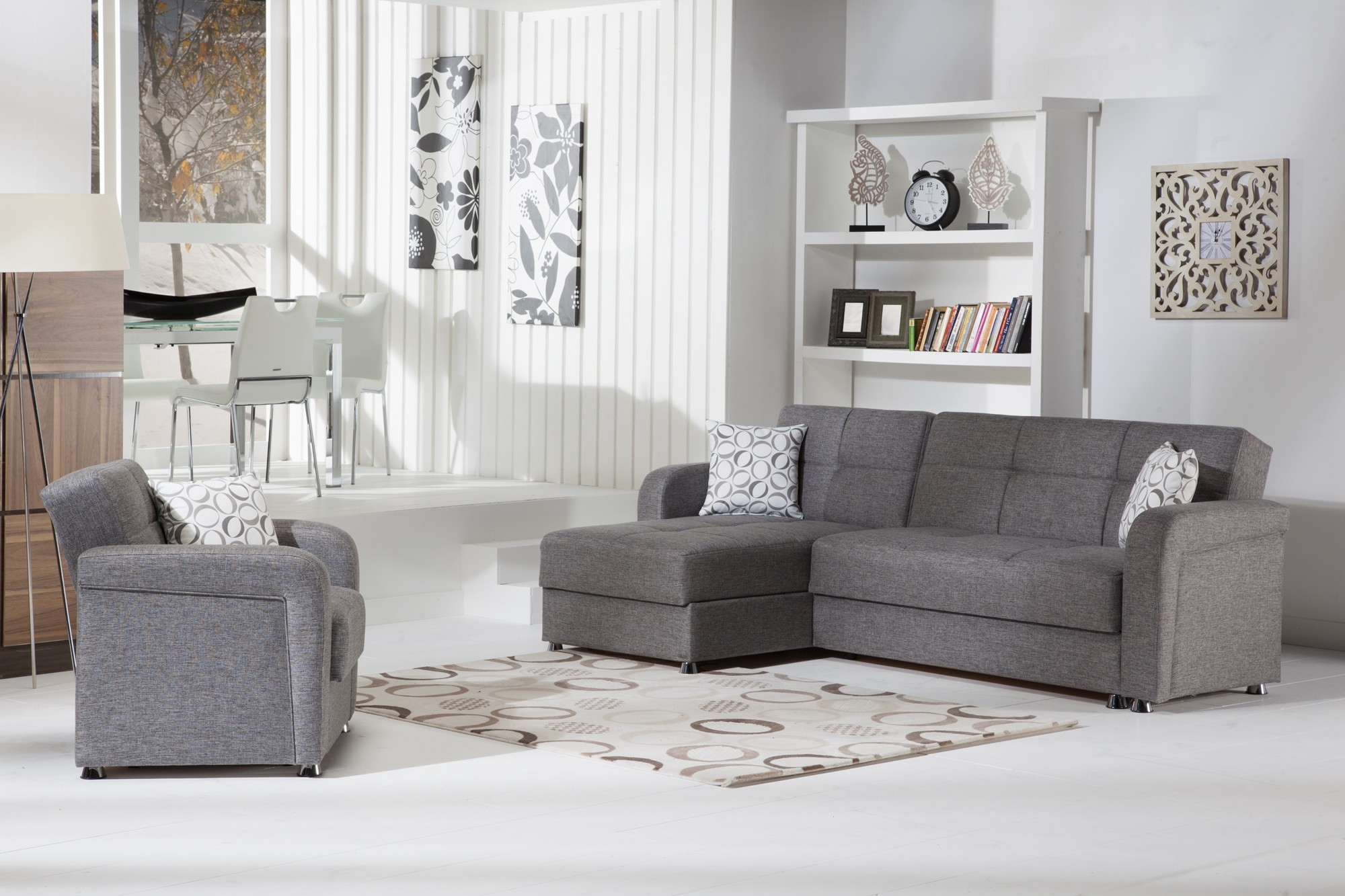 Vision Convertible Sectional Sofa In Diego Grey Istikbal With Regard To Convertible Sectional Sofas (Image 15 of 15)