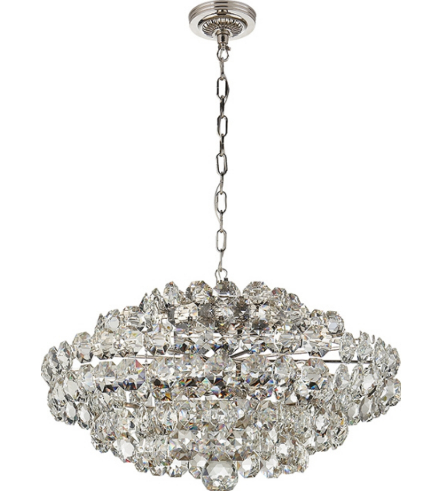 Visual Comfort Arn5105pn Cg Aerin Sanger Small Chandelier In Pertaining To Small Glass Chandeliers (Image 14 of 15)