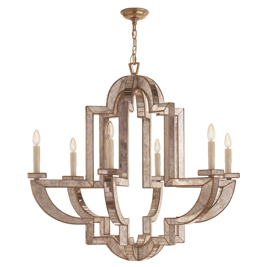 Visual Comfort Nw5041amhab Lido Large 6 Light Chandelier In Regarding Mirror Chandelier (Image 15 of 15)