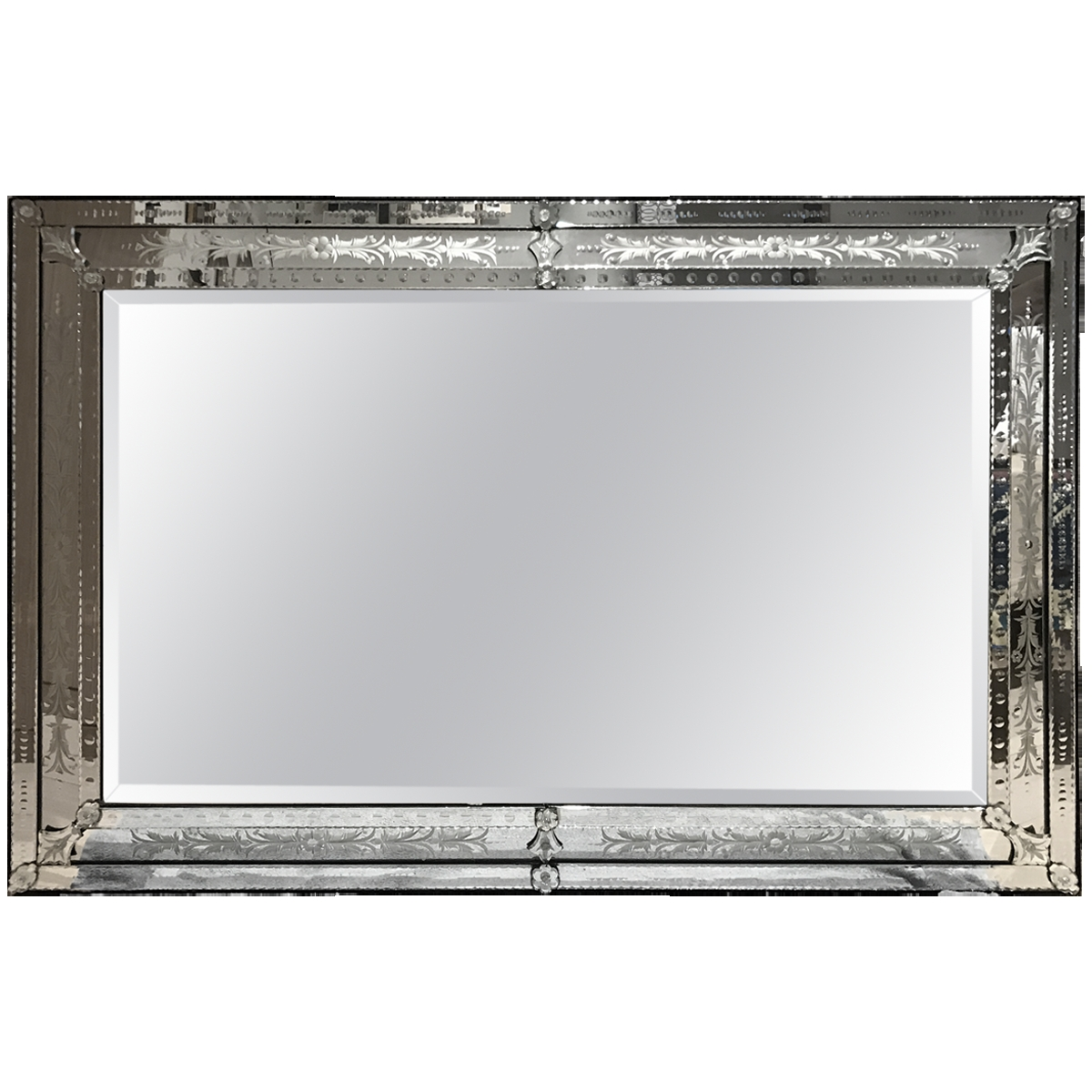 Viyet Designer Furniture Accessories Vintage Large Etched With Large Venetian Mirror (View 10 of 15)