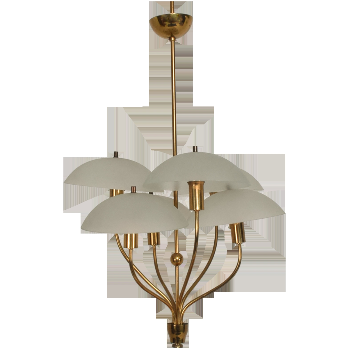 Viyet Designer Furniture Lighting Mid Century Modern Italian With Regard To Brass And Glass Chandelier (Image 15 of 15)