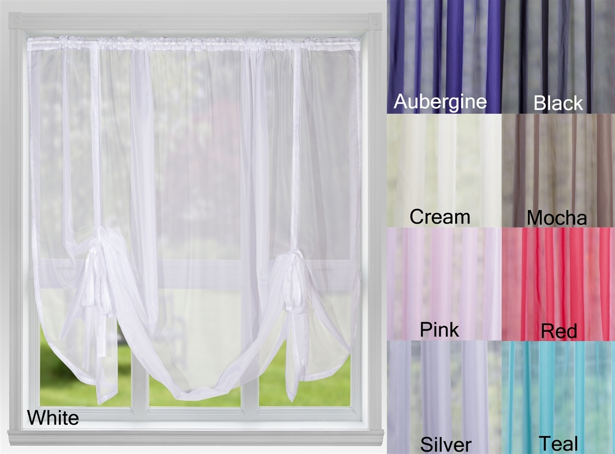 Voile Panels Tie Blind Cream Nets Curtains Direct 2u Within Voile Blinds (View 4 of 15)