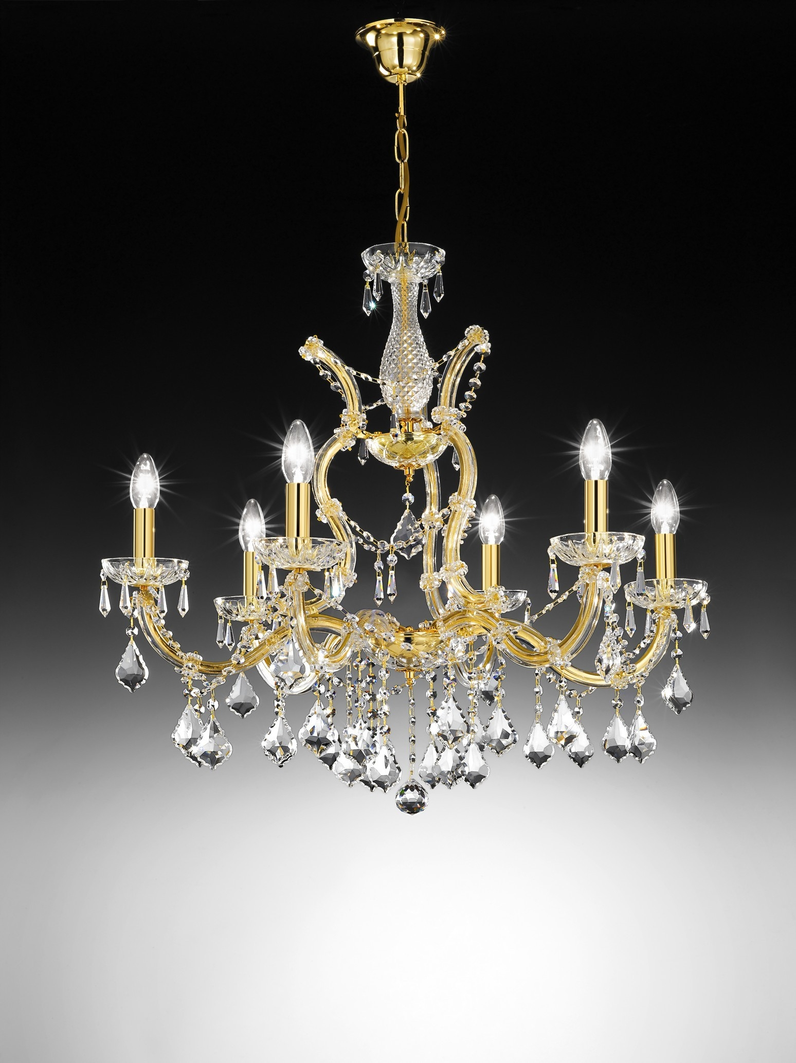 Voltolina Innsbruck Crystal Chandelier Gold 505100 6c Free Delivery With Regard To Crystal Gold Chandelier (Image 14 of 15)