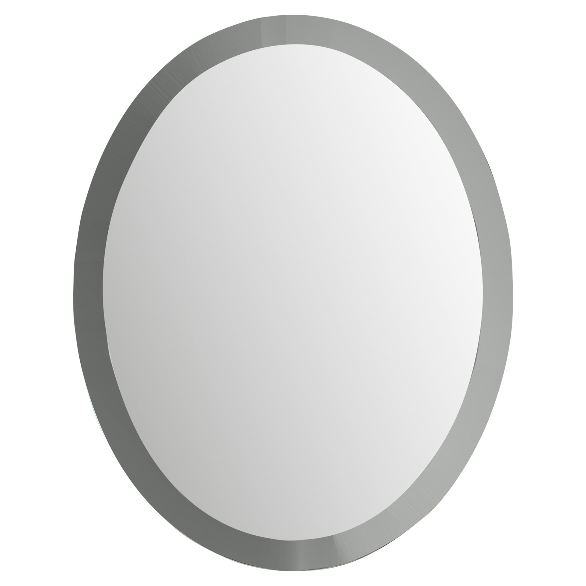 Wade Logan Duane Oval Bevel Frameless Wall Mirror Reviews Wayfair For White Oval Wall Mirror (Image 13 of 15)