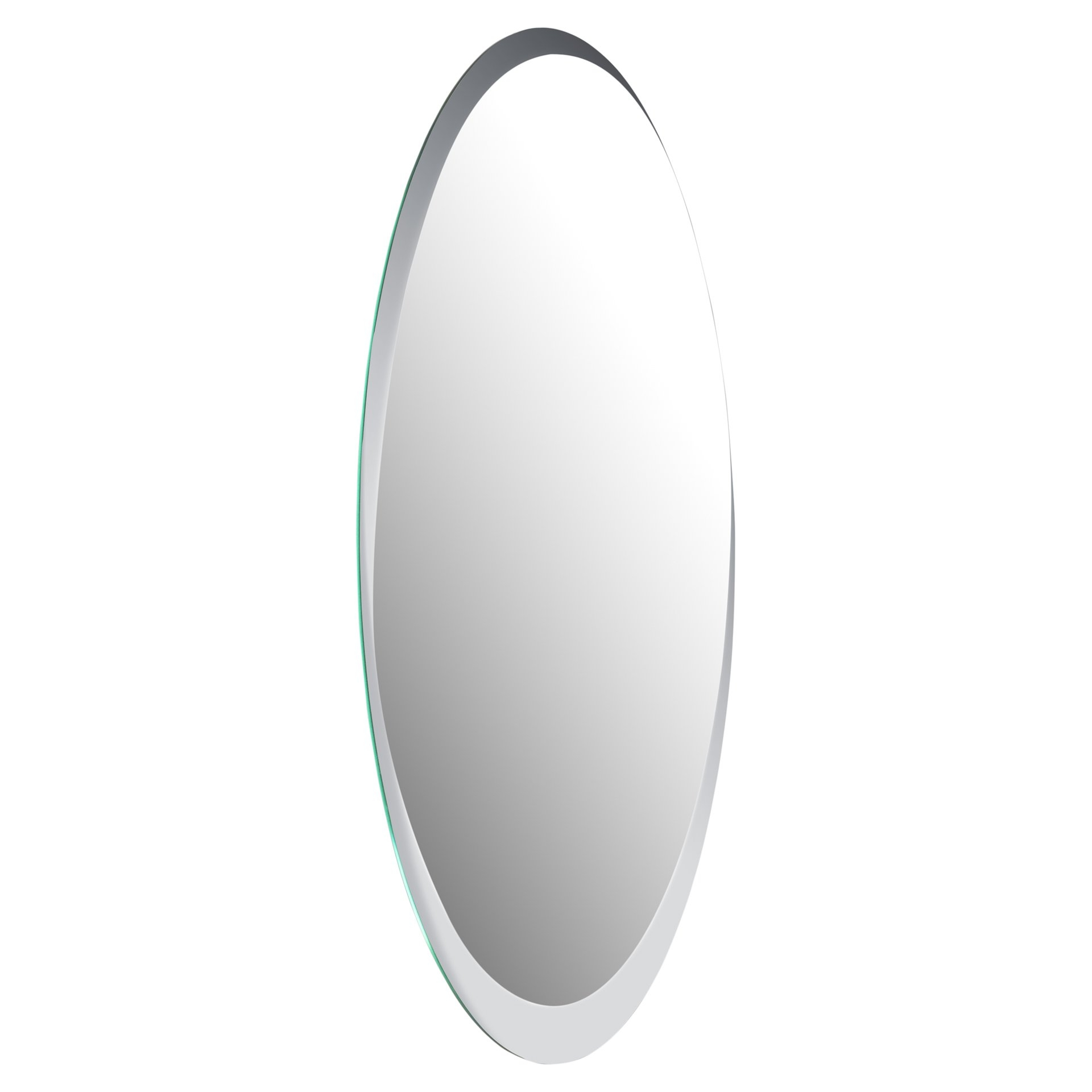 Wade Logan Duane Oval Bevel Frameless Wall Mirror Reviews Wayfair Regarding Oval Bevelled Mirror (View 12 of 15)