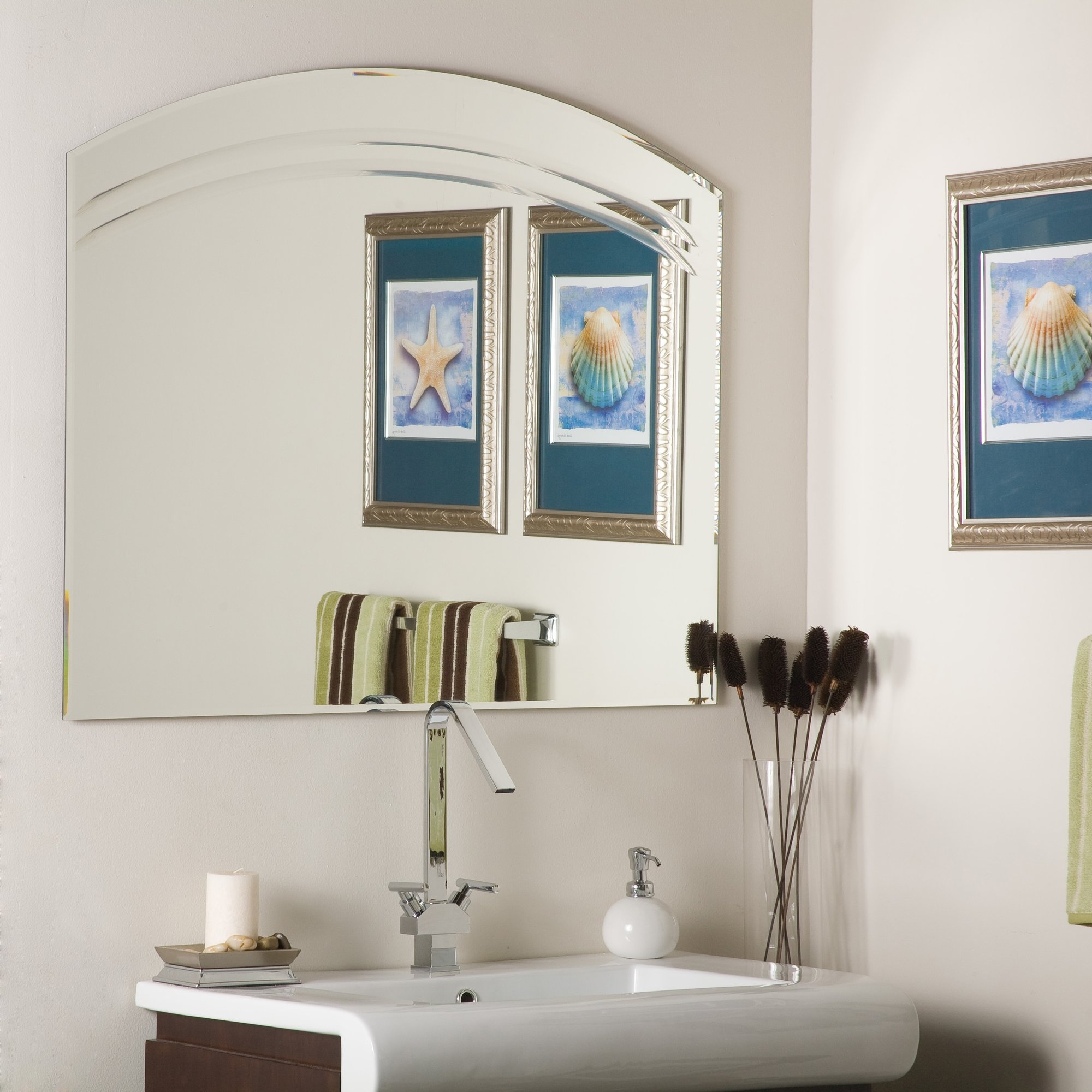 Wade Logan Large Frameless Wall Mirror Reviews Wayfair With Regard To Large Frameless Mirror (Image 15 of 15)