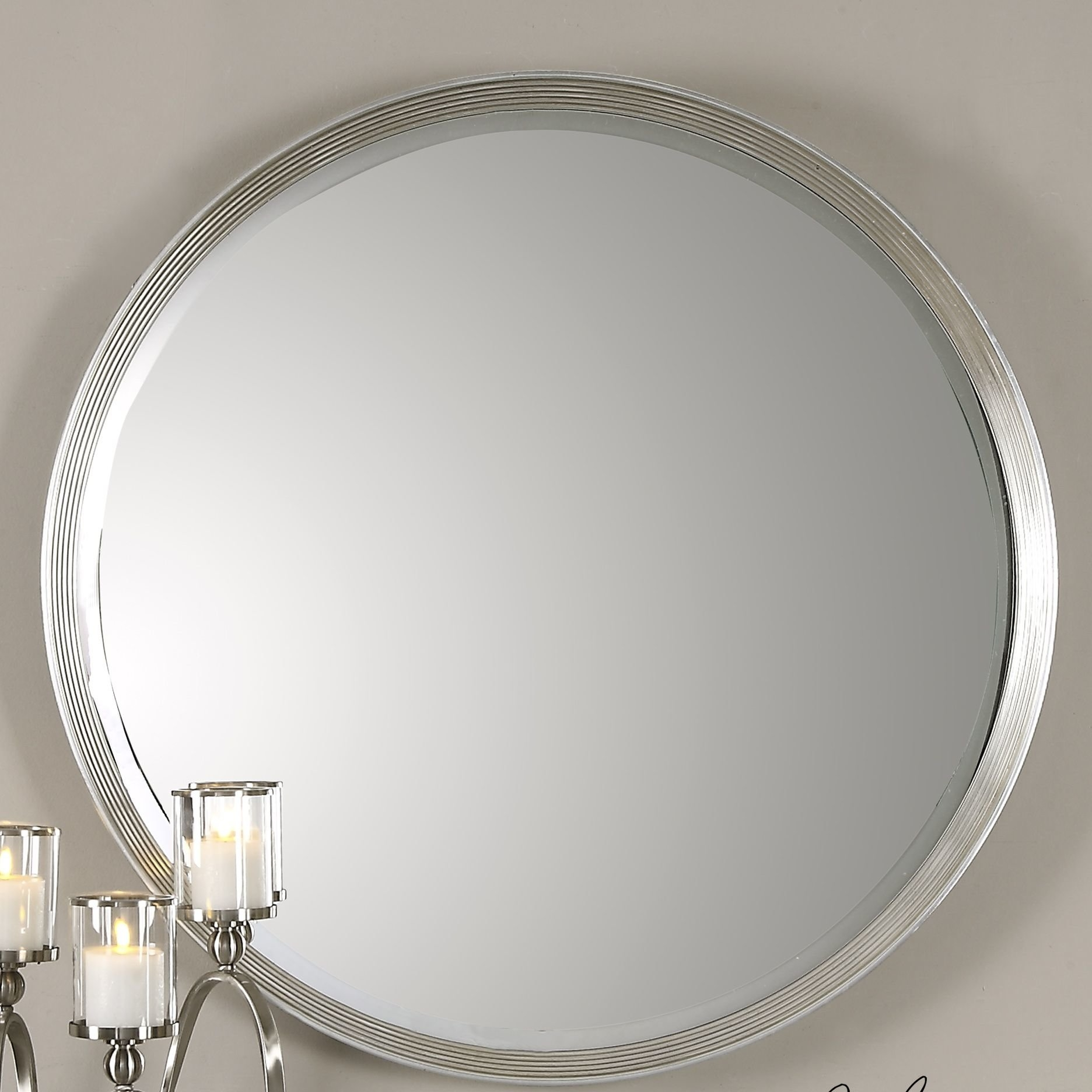 Wade Logan Round Silver Accent Wall Mirror Reviews Wayfair With Silver Round Mirrors (Image 15 of 15)