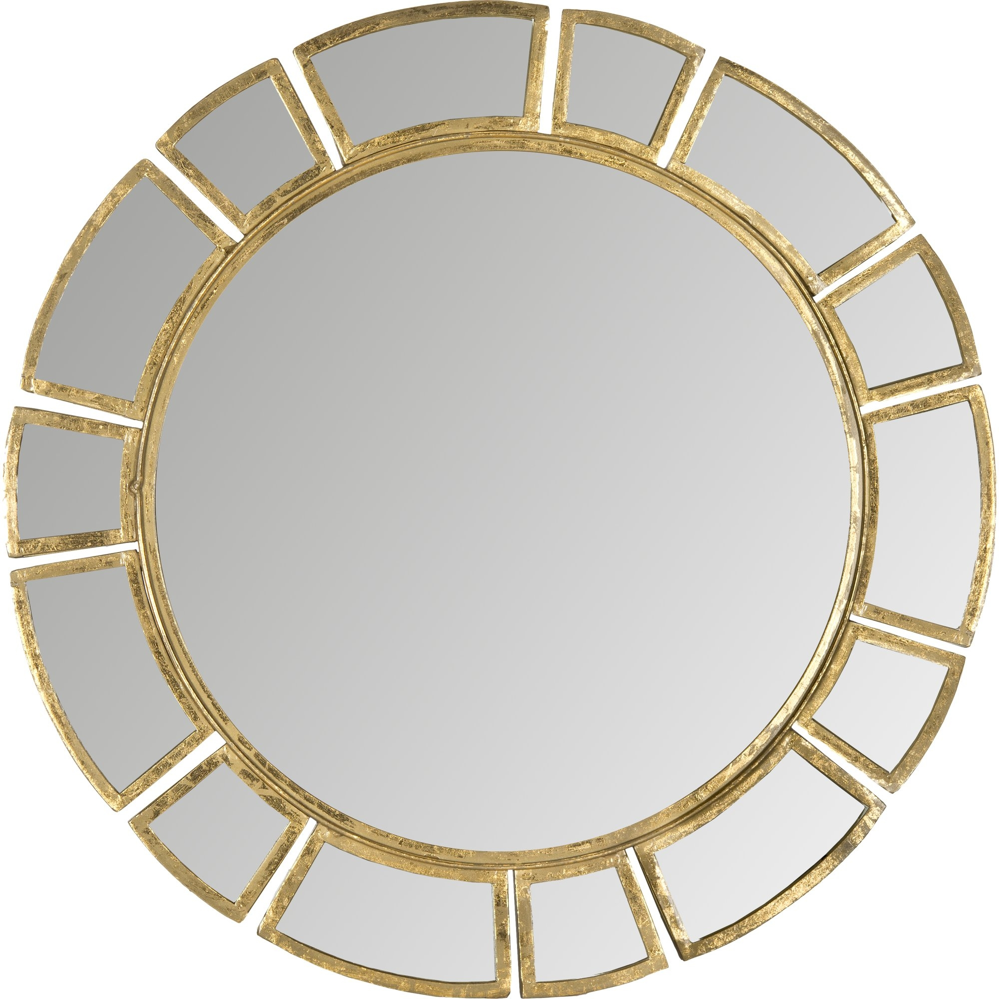 Wald Round Antique Gold Patina Sunburst Wall Mirror Reviews In Round Antique Mirror (Image 14 of 15)