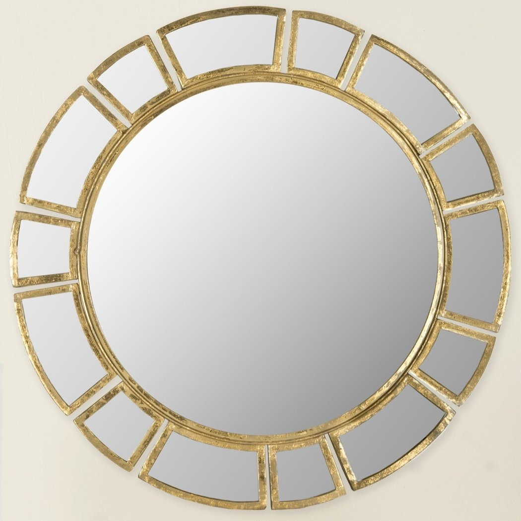 Wald Round Antique Gold Patina Sunburst Wall Mirror Reviews Intended For Round Antique Mirror (Image 15 of 15)