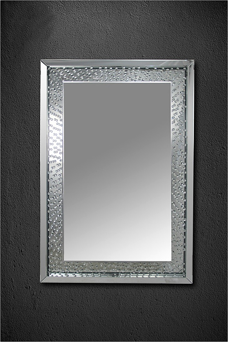Wall Mirror Featuring Crystal Encased Frame Comfortzone Furnishers Inside Wall Mirror With Crystals (Image 14 of 15)