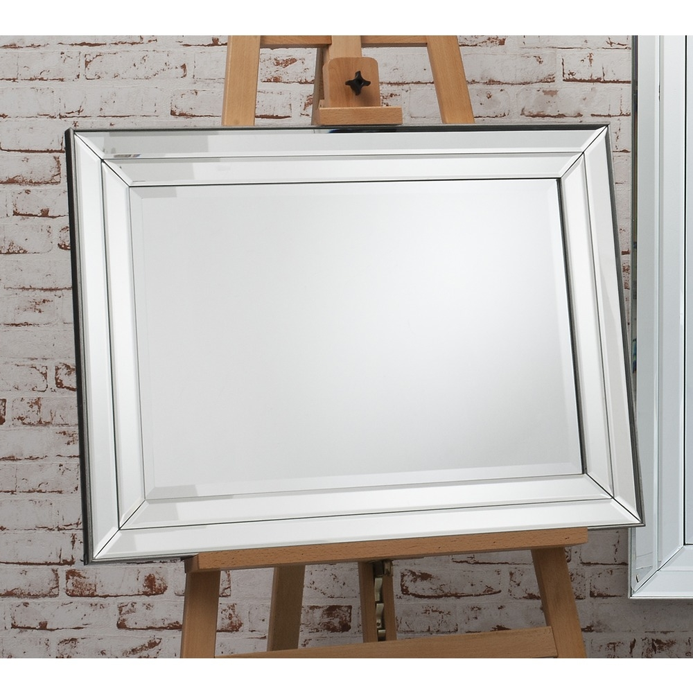 Wall Mirror Roswell Rectangle Mirror Select Mirrors Regarding Double Bevelled Mirror (Image 12 of 15)