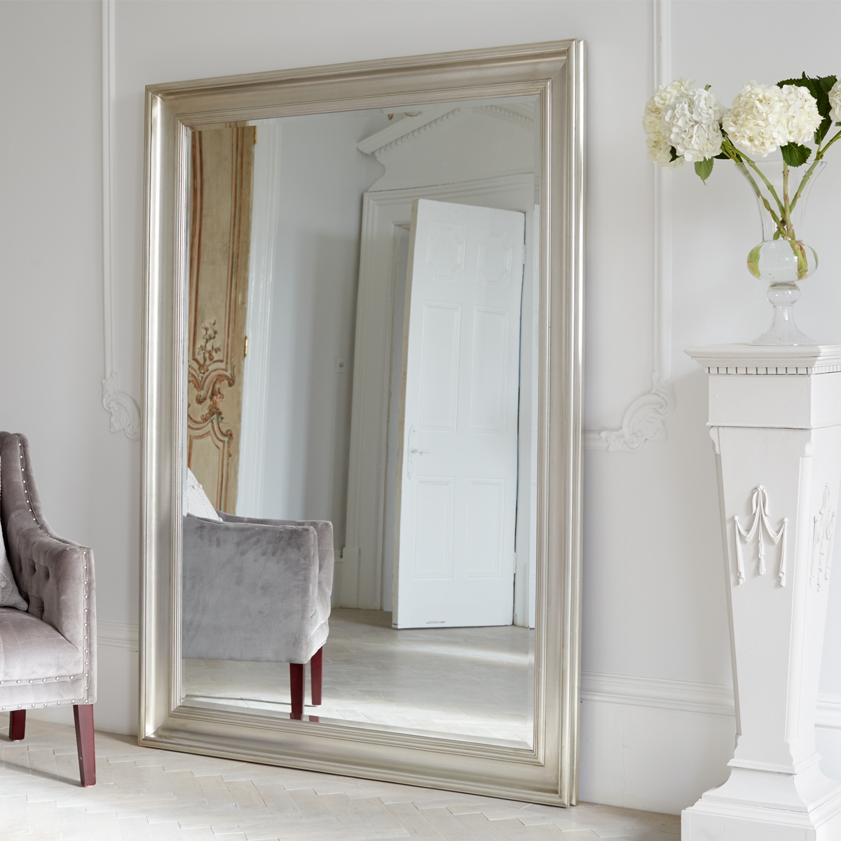 Wall Mirrors Full Length Mirrors Oversized Mirrors Vintage Intended For Big Floor Standing Mirrors (Image 15 of 15)