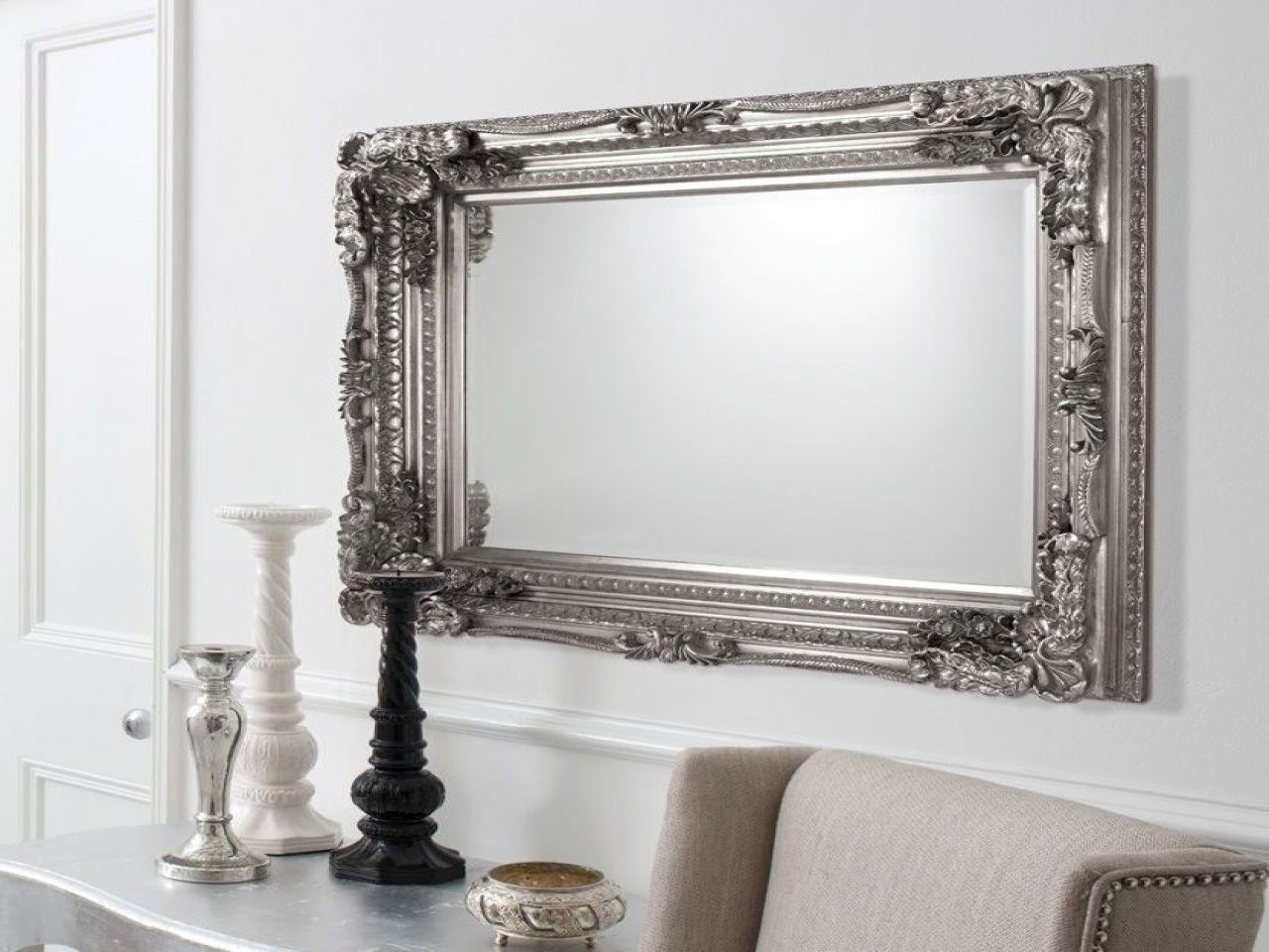 Wall Mirrors Images Carved Ornate Framed Silver Wall Mirror For Silver Ornate Framed Mirror (Image 15 of 15)
