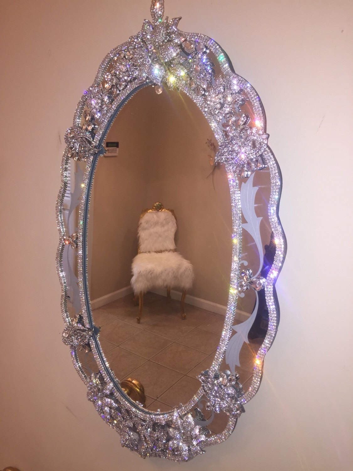 Wall Mirrors With Crystal Frames Bb Simon Swarovski Crystal Throughout Swarovski Mirrors (Image 15 of 15)