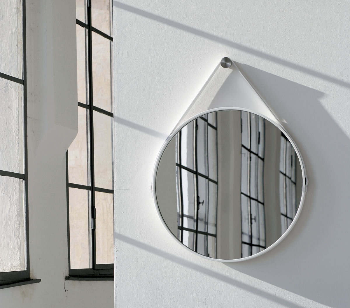 Wall Mounted Mirror Contemporary Round Leather George 24in Pertaining To Contemporary Round Mirror (View 15 of 15)