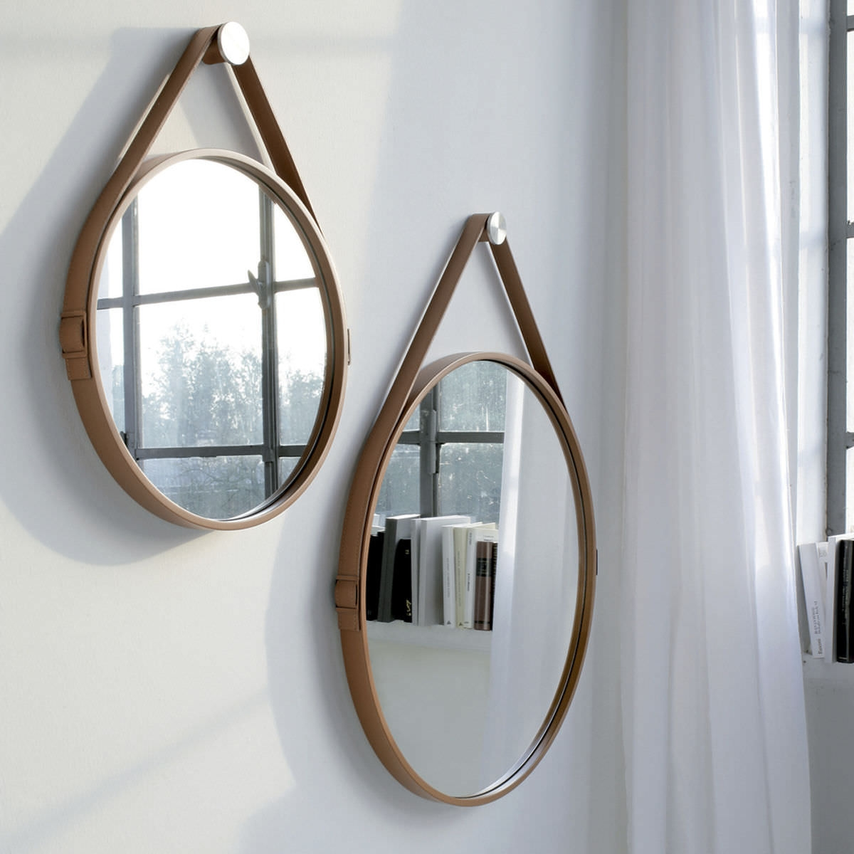 Wall Mounted Mirror Contemporary Round Leather George 24in With Regard To Leather Mirrors Wall (Image 15 of 15)
