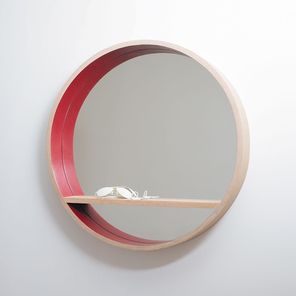 Wall Mounted Mirror Contemporary Round With Shelf Herv Regarding Round Contemporary Mirror (Image 15 of 15)