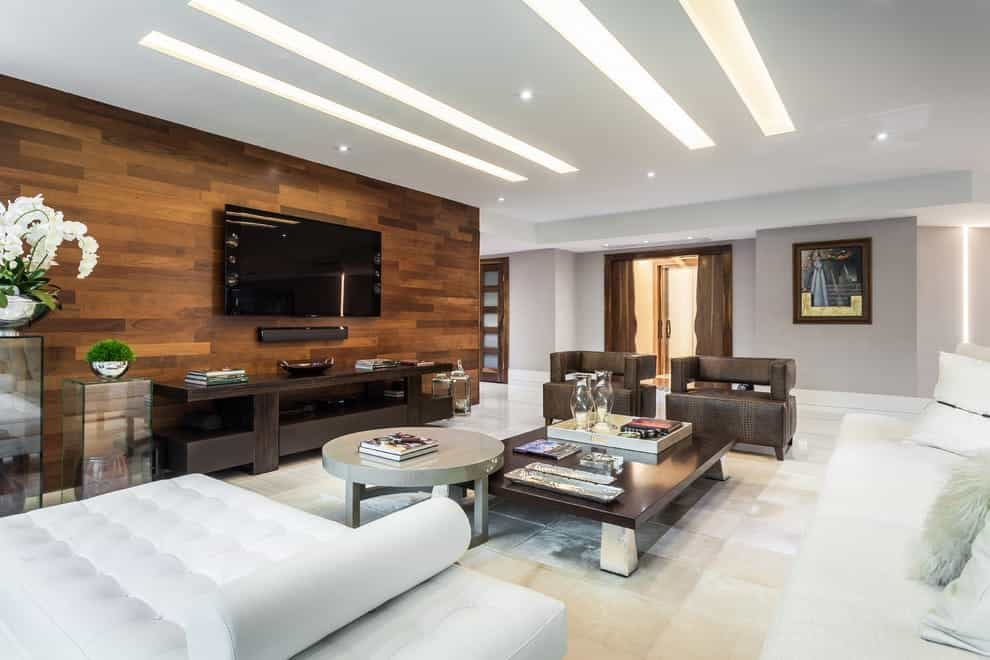 Featured Image of Wall Mounted Tv With Wooden Panel For Modern Living Room