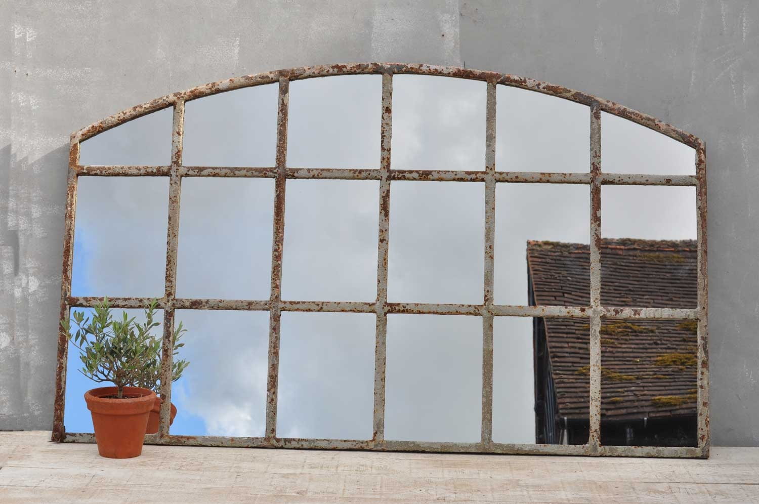 Warehouse Large Cast Iron Arched Window Mirror For Large Arched Window Mirror (Image 14 of 15)