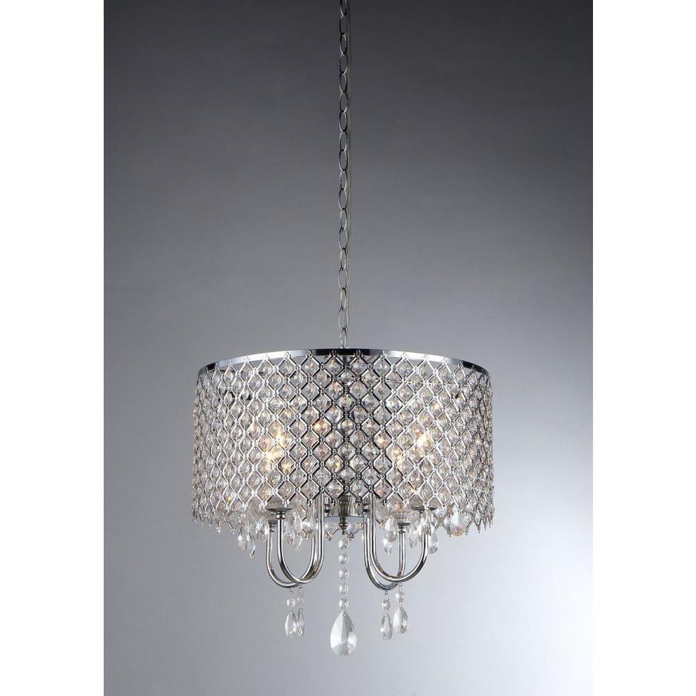 Warehouse Of Tiffany Angelina 4 Light Chrome Crystal Chandelier With Regard To Chrome Crystal Chandelier (Image 12 of 15)