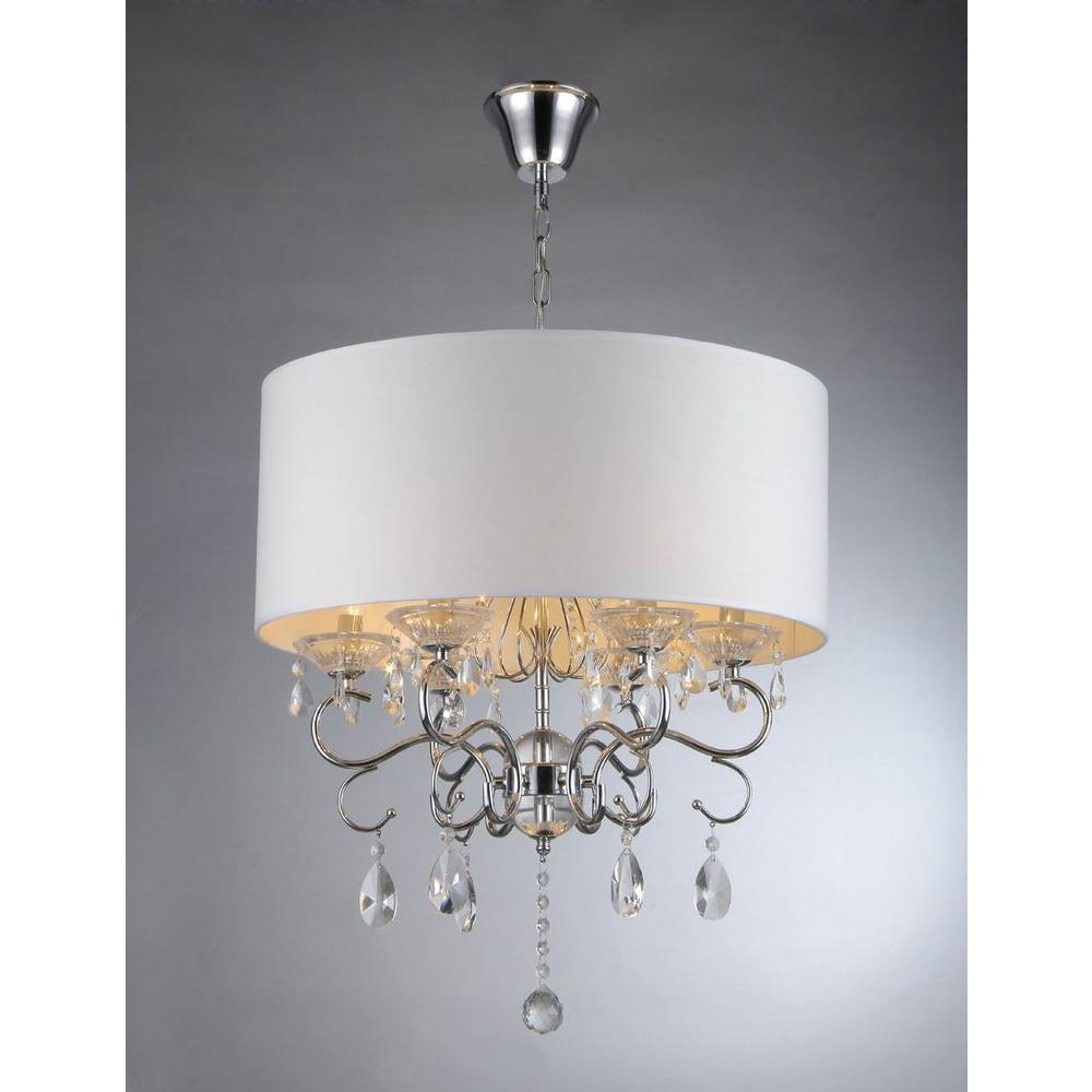 Warehouse Of Tiffany Camilla 6 Light Chrome Crystal Chandelier With Regard To Chrome Crystal Chandelier (Image 13 of 15)