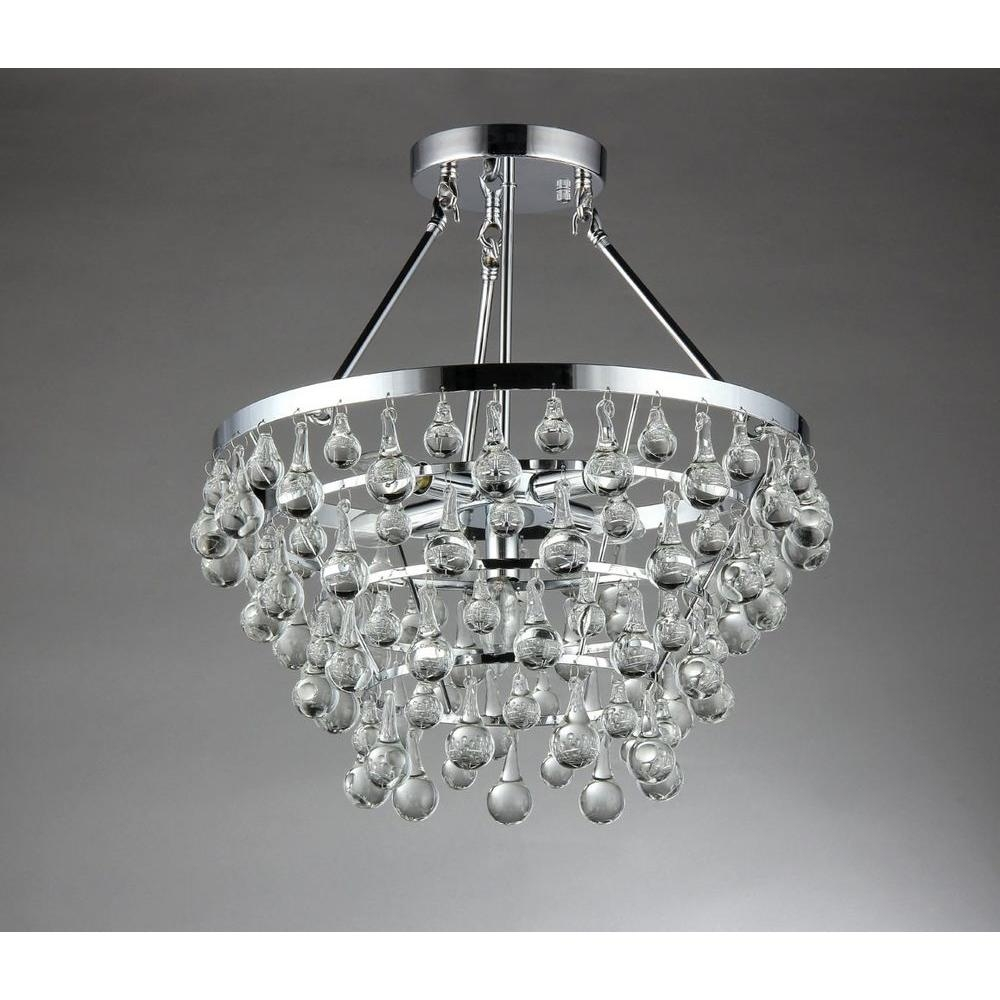Warehouse Of Tiffany Eleanor 5 Light Chrome Crystal Chandelier With Chrome Crystal Chandelier (Image 14 of 15)