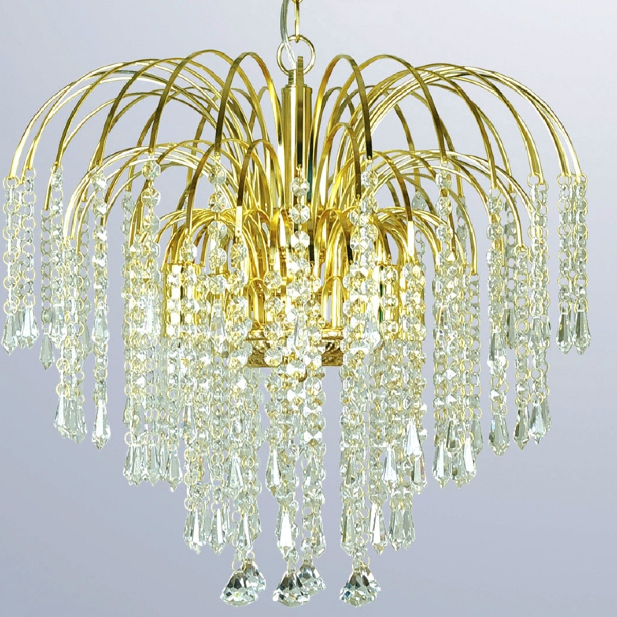 Waterfall Four Light Gold Crystal Chandelier Dove Mill Pertaining To Crystal Waterfall Chandelier (Image 15 of 15)
