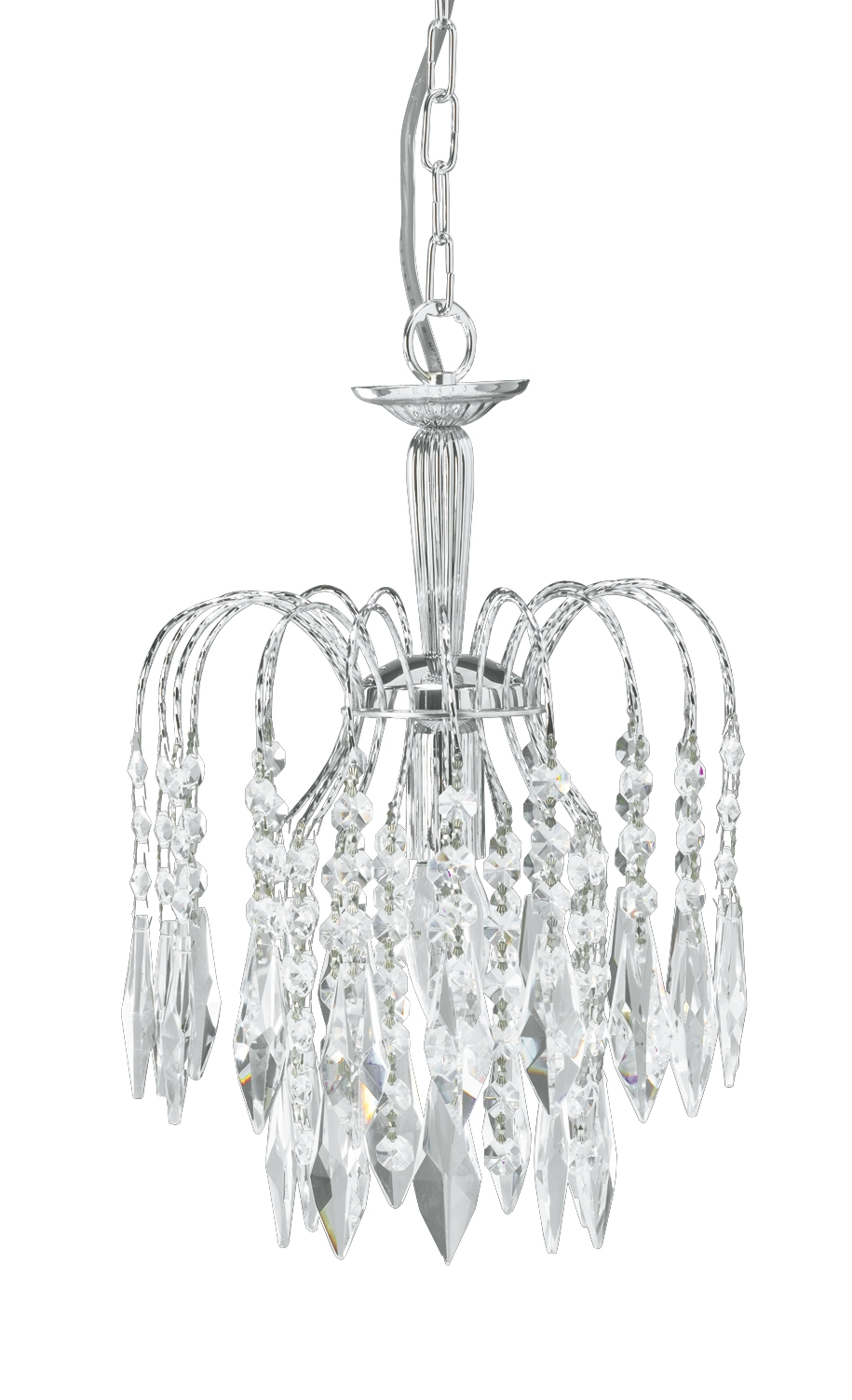 Waterfall Small Chandelier Chrome Throughout Small Chrome Chandelier (Image 15 of 15)