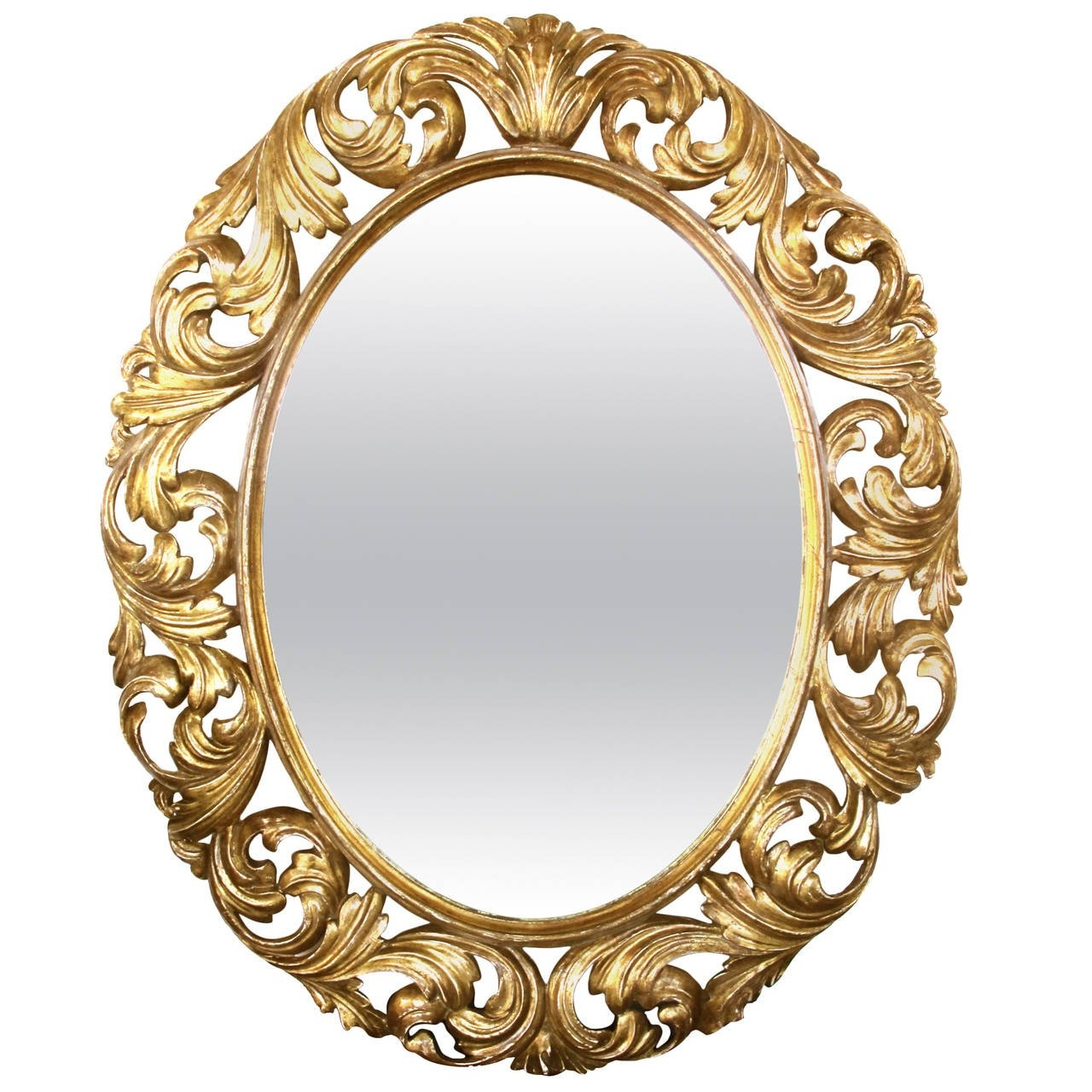 Well Carved Italian Baroque Style Oval Giltwood Mirror For Sale At With Regard To Baroque Style Mirror (Image 15 of 15)