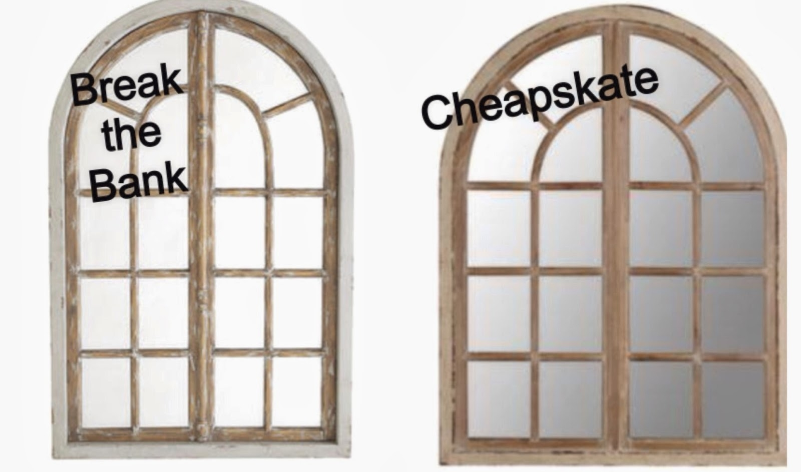 Whimsy Girl Break The Bank Vs Cheapskate Arch Window Frame Mirror For Large Arched Mirrors (Image 14 of 15)