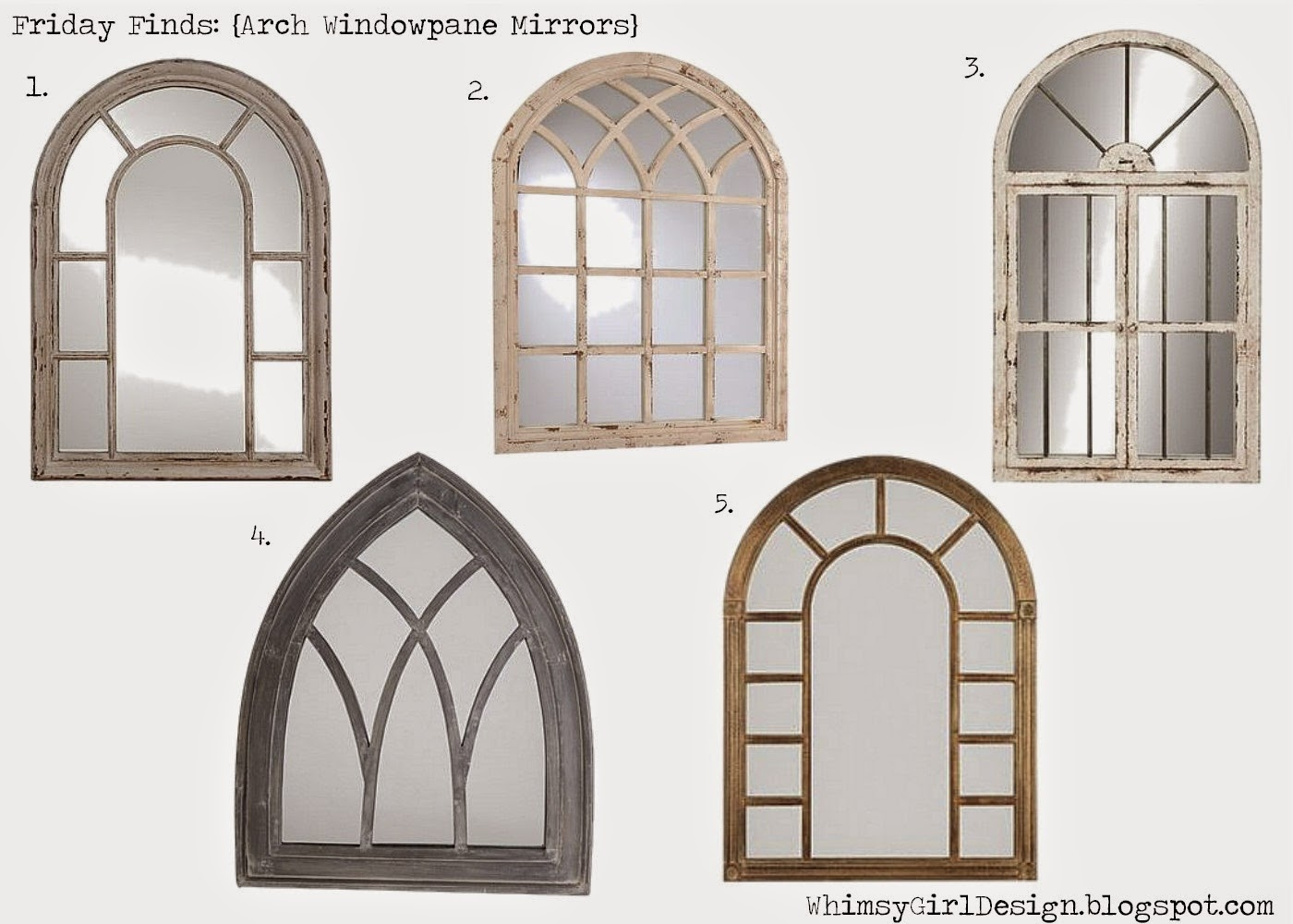 Whimsy Girl Friday Finds Window Arch Cathedral Mirrors Intended For White Arched Window Mirror (Image 12 of 15)