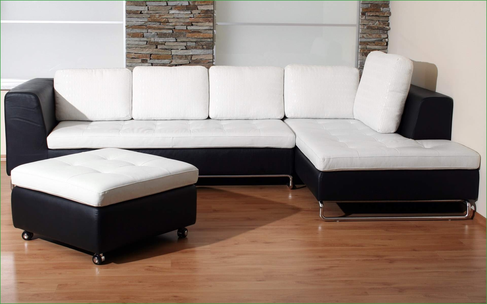 White And Black Sectional Sectional Modern Black And White Leather Pertaining To Black And White Sectional Sofa (View 8 of 15)