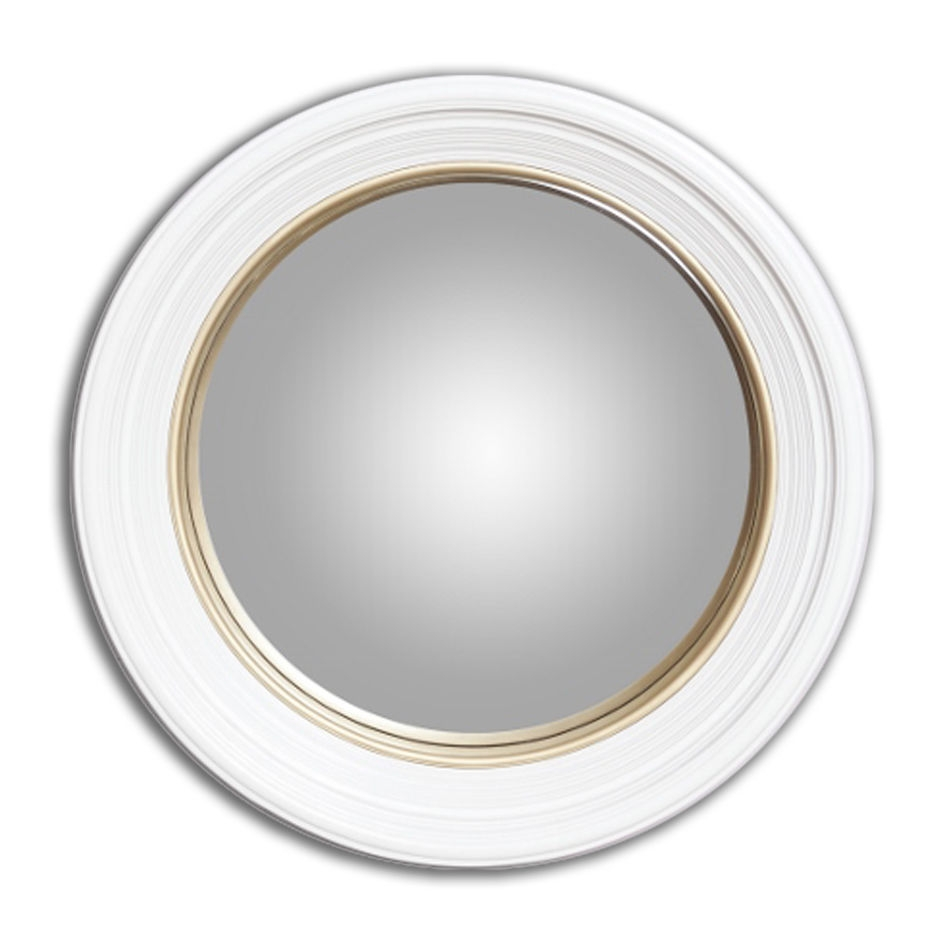 White And Gold Medium Deep Round Convex Porthole Wall Mirror With Round Convex Wall Mirror (Image 14 of 15)