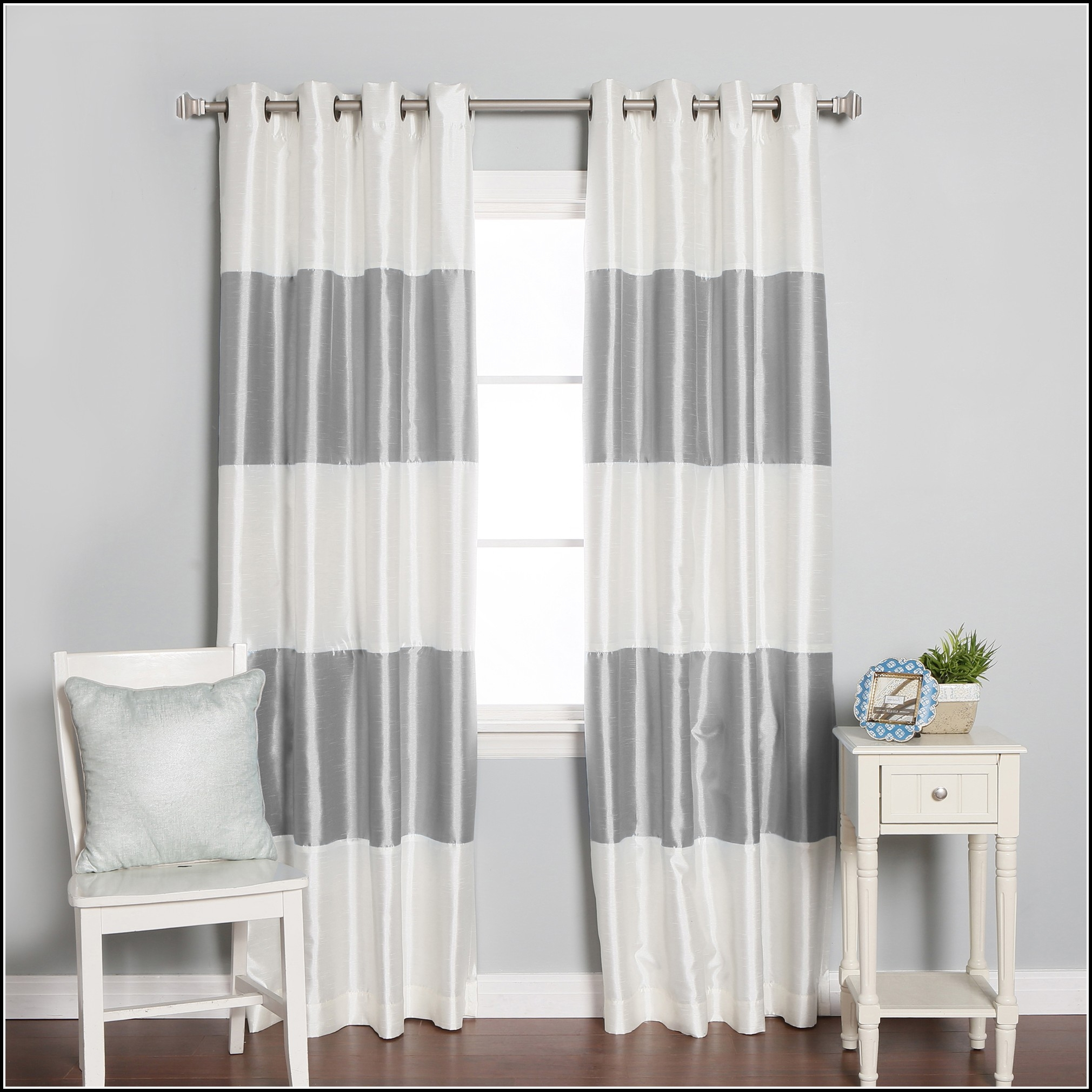 White And Grey Blackout Curtains Curtains Home Decorating Throughout White Opaque Curtains (Image 11 of 15)