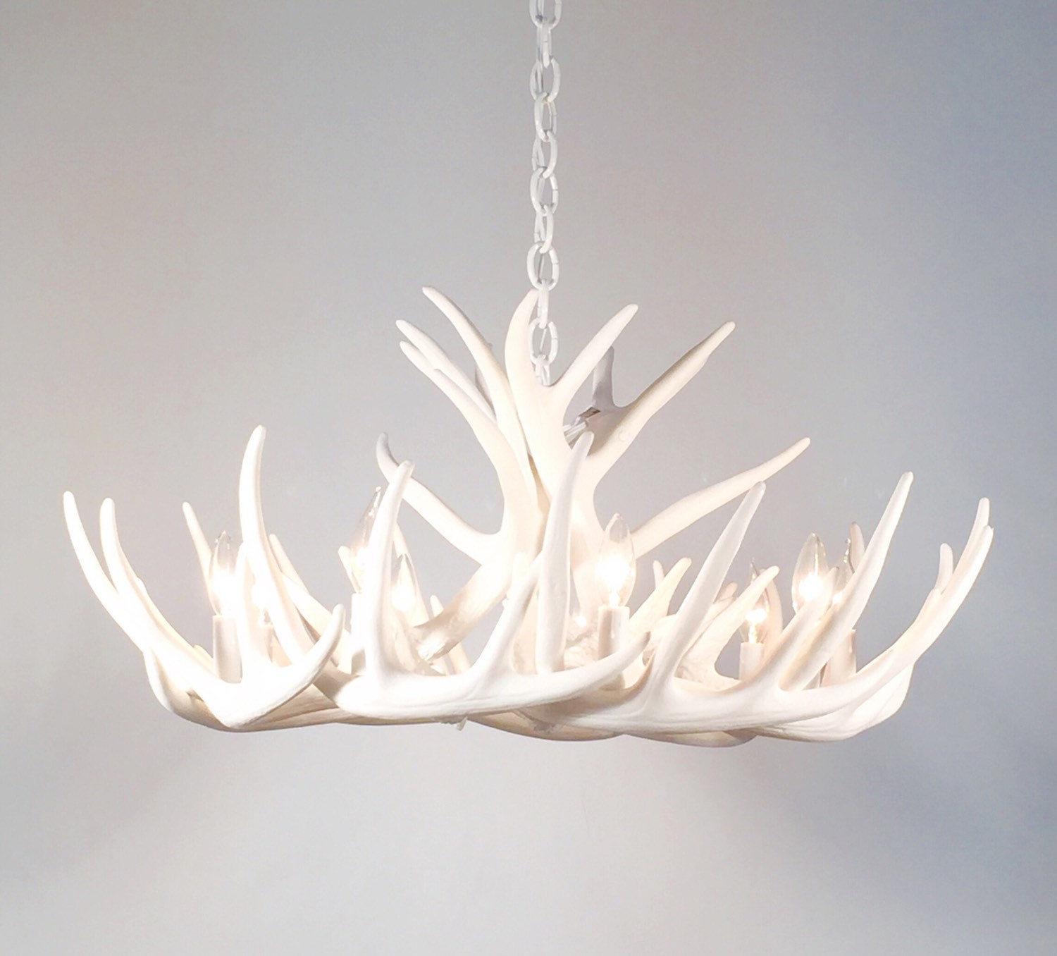 White Antler Chandelier Faux Antler Chandelier W12c Throughout Antler Chandelier (View 14 of 15)