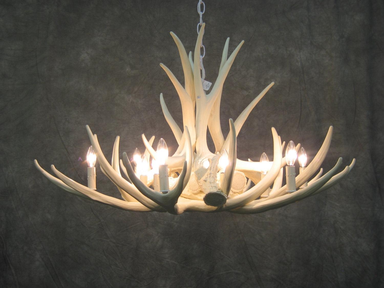 White Antler Chandelier Faux Deer Antler Chandelier D9 Inside Stag Horn Chandelier (Image 14 of 15)