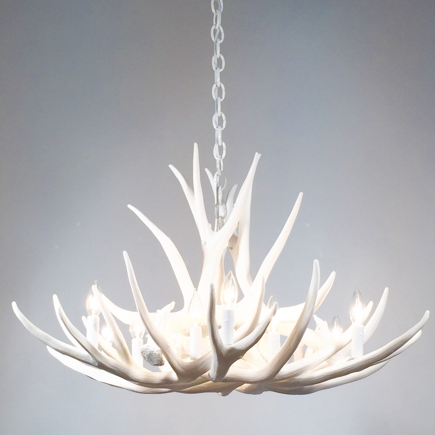 White Antler Chandelier Faux Deer Antler Chandelier D9 Throughout Stag Horn Chandelier (Image 15 of 15)