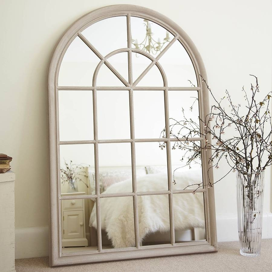 White Arched Window Mirror Wall Decor Cream And Window Inside Large Arched Window Mirror (Image 15 of 15)