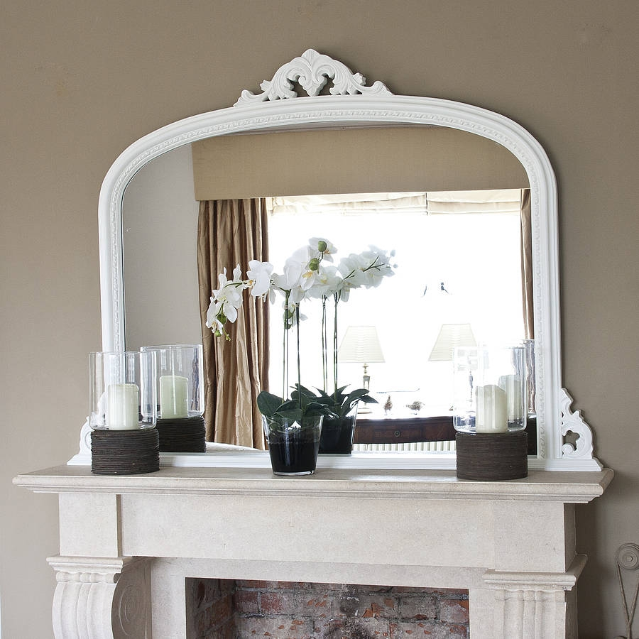 White Beaded Edge Overmantel Fireplace Mirror Decorative With Overmantle Mirrors (Image 15 of 15)