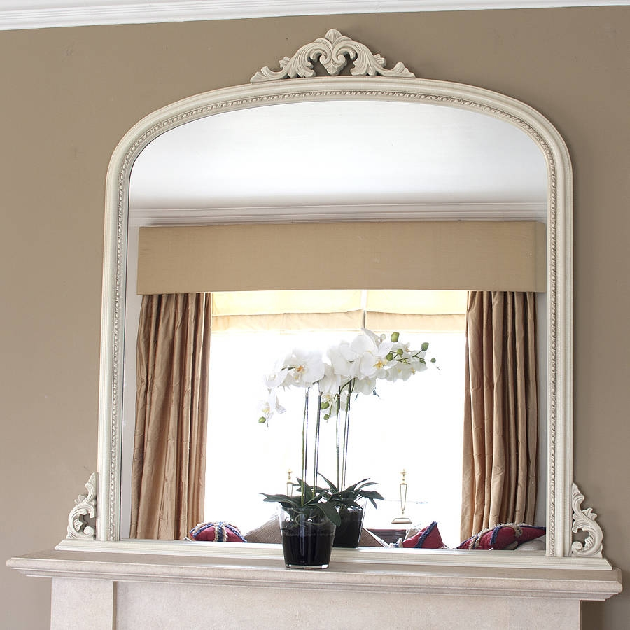 White Beaded Edge Overmantel Fireplace Mirror Mirrors Online And With Mantlepiece Mirrors (Image 15 of 15)