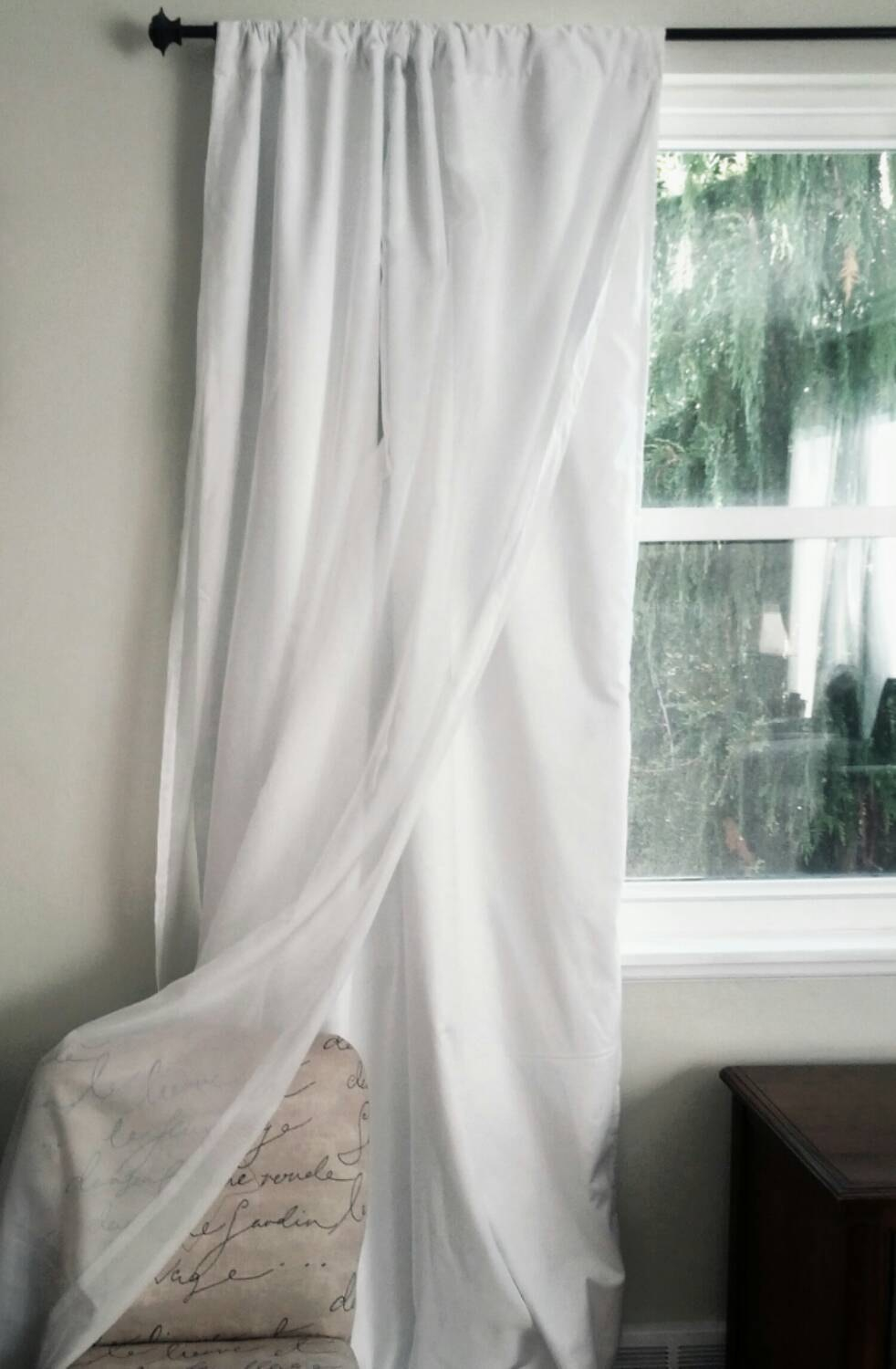 White Blackout Curtain With Voile Overlay One Panel Custom In Noise And Light Blocking Curtains (Image 15 of 15)