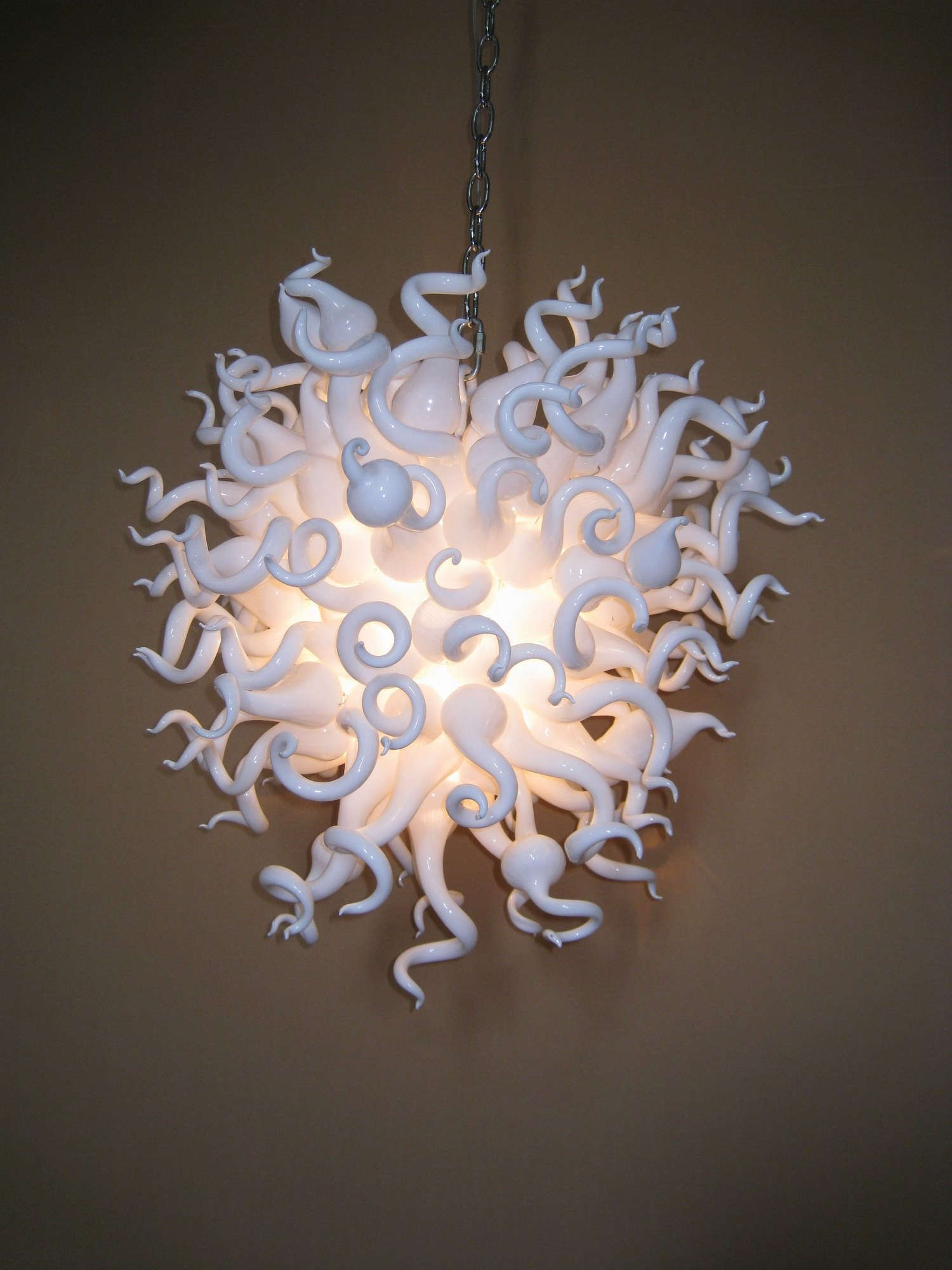 White Blown Glass Chandelier With Regard To Simple Glass Chandelier (Image 14 of 15)