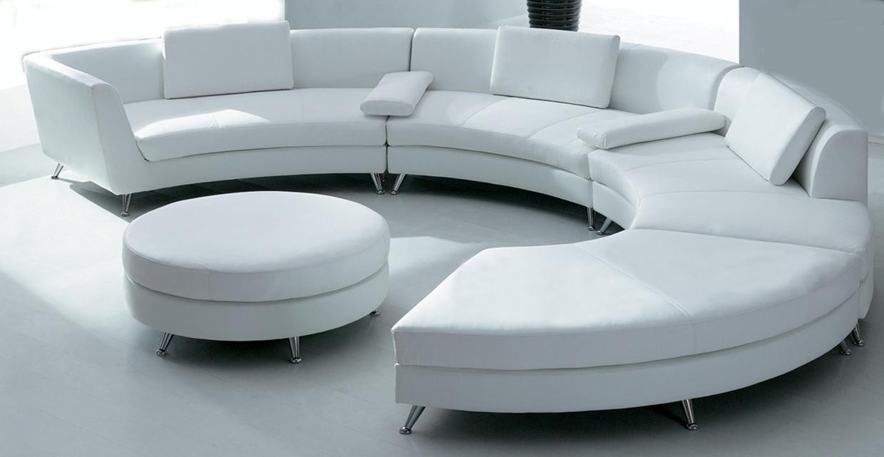 White Circular Leather Sofa W Ottoman Sf03 Qty 4 In Circular Sectional Sofa (Image 15 of 15)
