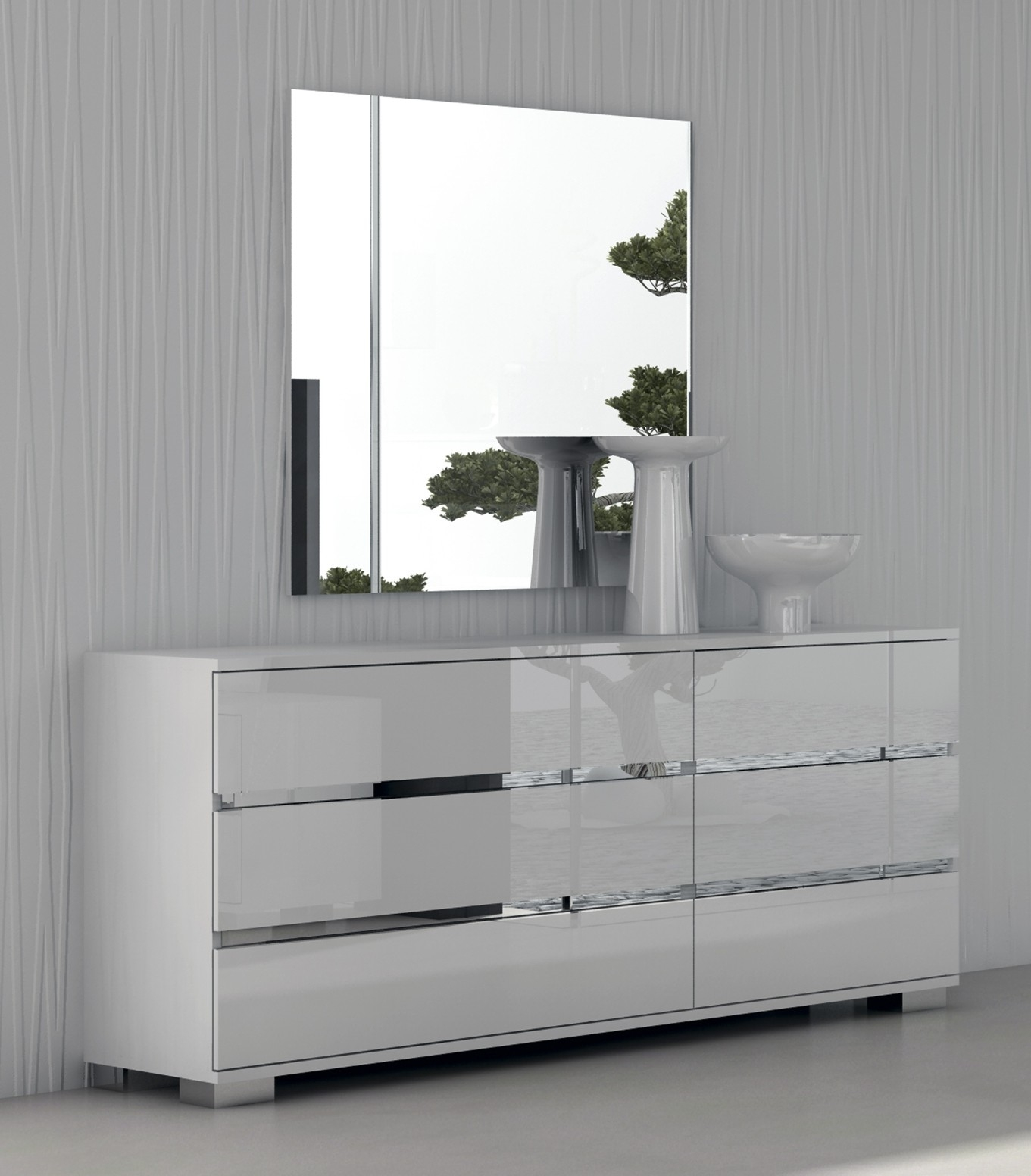 White Contemporary Dresser With Regard To Contemporary White Mirror (Image 14 of 15)
