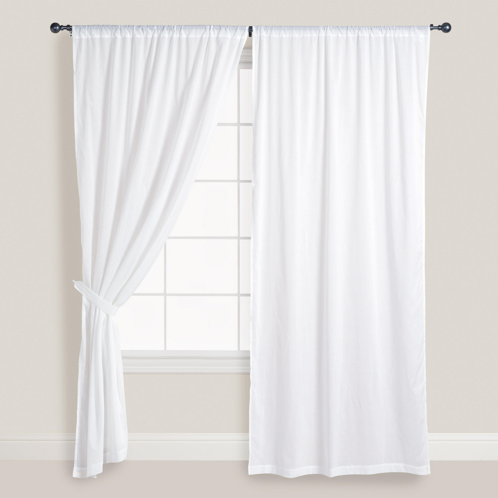 White Cotton Voile Curtains Set Of 2 Front Windows Nature And For White Sheer Cotton Curtains (Image 13 of 15)
