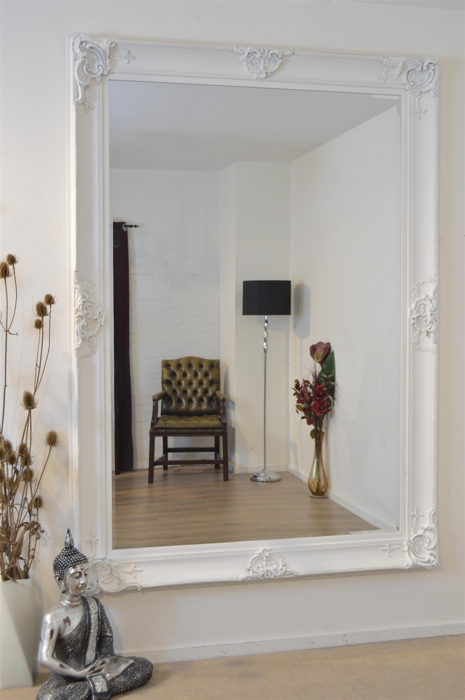 White Decorative Wall Mirror Inarace Throughout Large Ornate White Mirror (Image 12 of 15)