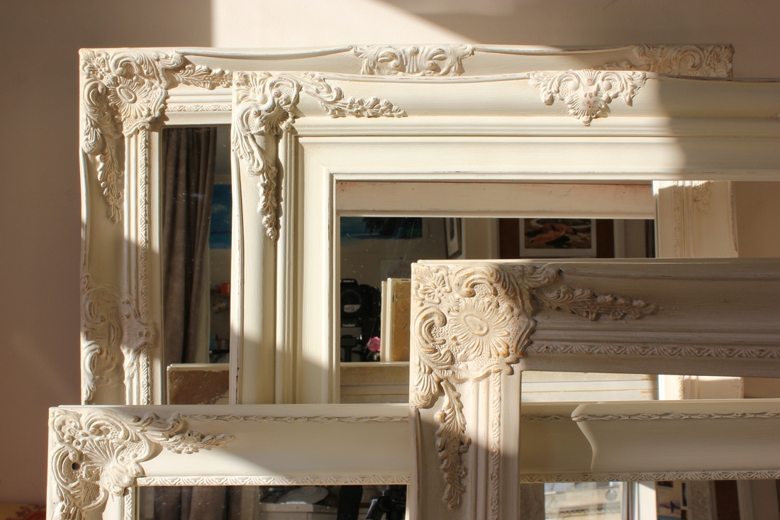 White Distressed Shab Chic Mirror Maple Lawn Best Home Throughout French Chic Mirror (Image 14 of 15)