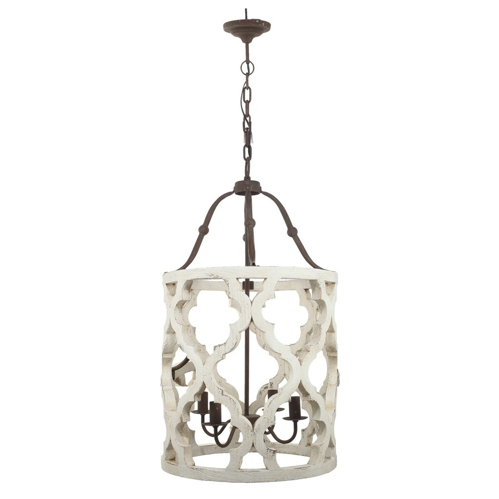 White Distressed Wood Barrel Chandelier Shab Chic Rustic Within Country Chic Chandelier (Image 15 of 15)