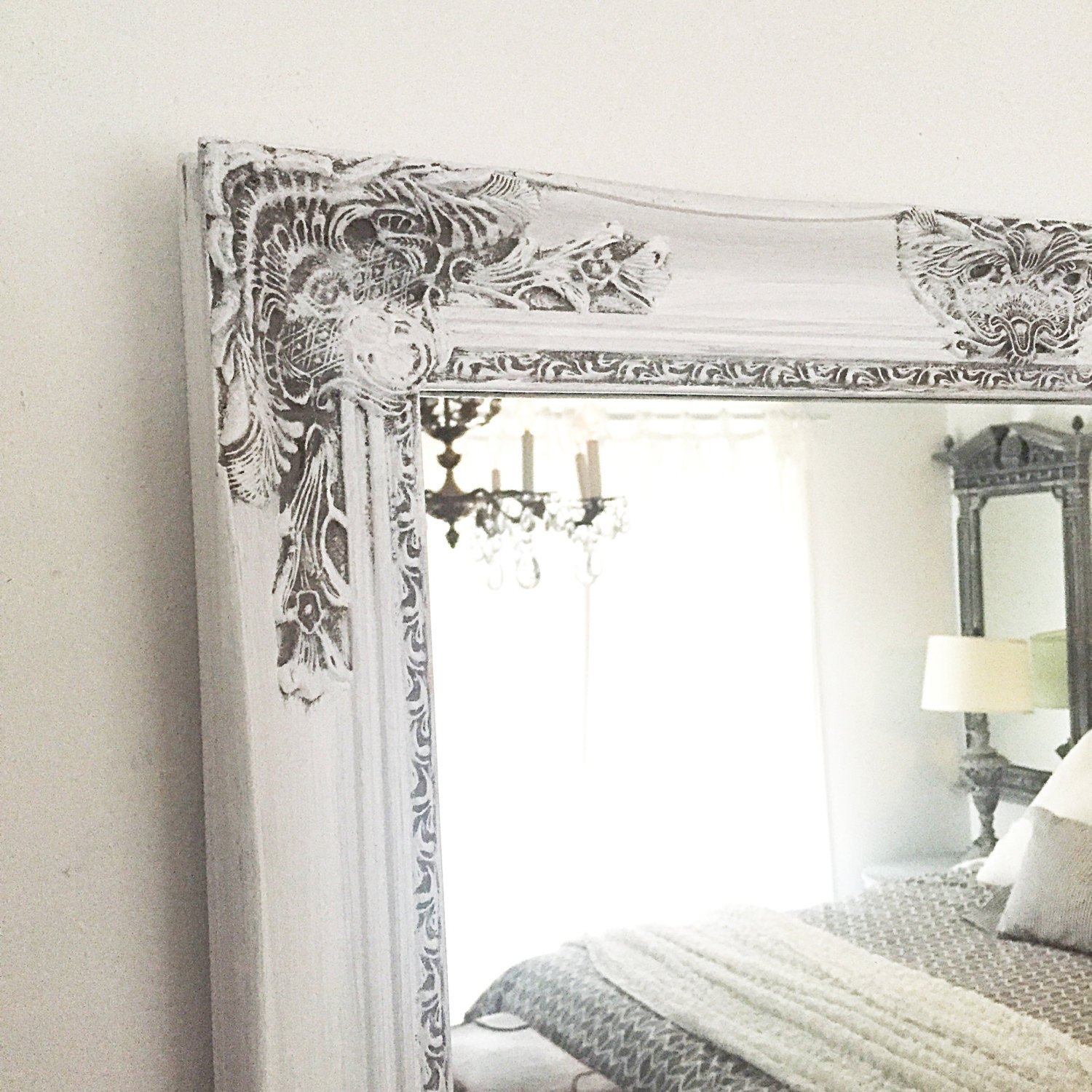 White Frame Etsy Intended For White Baroque Wall Mirror (Image 14 of 15)
