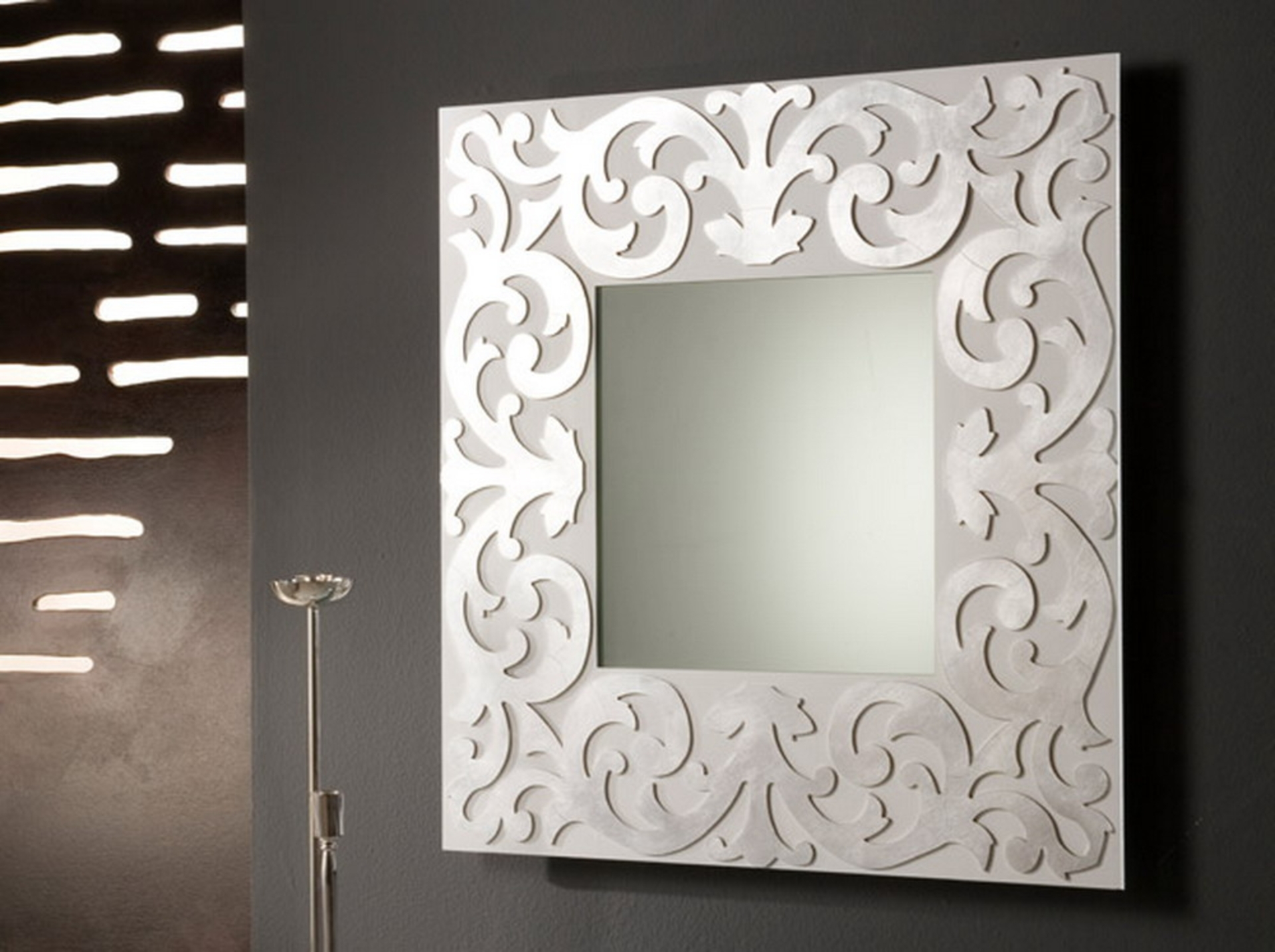 White Frame Mirror Rectangle Double Mirror With White Frame Plus With Decorative Long Mirrors (Image 15 of 15)